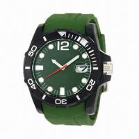 China Silicone Watch with Army Color Plastic Case and Silicone Strap, Japan Movement, Calendar wholesale