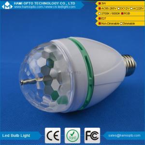 China E27 220V 110V LED Light Bulb Colorful Auto Rotate RGB Party Stage Lamp 3W Disco on sale