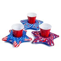 China PVC Patriotic Star Cupholder Floats Inflatable Drink Holder Red / White / Blue wholesale