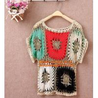 China Crocheted pull over tops sexy for women summer shirt hollow out beach clothes biniki cover on sale