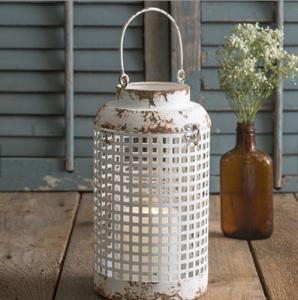 China Metal fashional cheap antique white vintage metal garden decoration wedding metal lantern for aged hurricane lantern wholesale