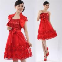 China Chiffon Strap Long Sleeve ladies dress suits for weddings , Red on sale