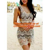 China women clothing summer Hollow out belt sexy knitted crover up crochet beach dress robe femm wholesale