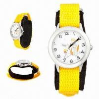 China Kid's Watches with Alloy Metal Case, Nylon Strap. 3ATM Waterproof and Japan Movement wholesale