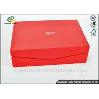 China Crimson Custom High End Cardboard Gift Boxes For Clothes / Cosmetic on sale
