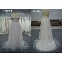 Quality Illusion Bodice A Line Tulle Garden Lace Bridal Gowns See Through Spaghetti Strap for sale