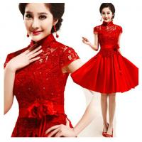 China Classic Red Keen length Wedding Gowns , Graceful Lace chinese traditional wedding dress wholesale
