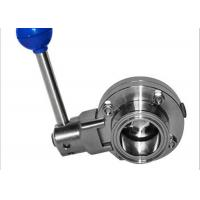 China Full Port Sanitary Butterfly Valves , Manual Butterfly Valve 100% Hydraulic Pressure Tested wholesale