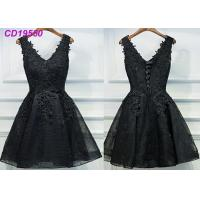 China Homecoming Black Lace Cocktail Dress / Beach Sleeveless Short Cocktail Dresses wholesale