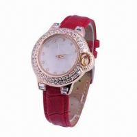 China New Style Jewelry Watch, Crystal Stones Decorated in Case, Genuine Leather Strap wholesale