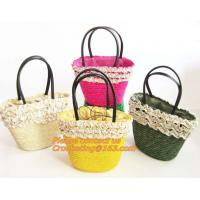 China Fashion Straw Beach Bag Summer Weave Woven Women Shoulder Bags Straw Handbags with Ribbons wholesale