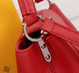 China Young Girl Top Clone LV handbag Red Genuine Leather ladies bag Soft Shoulder Bag on sale