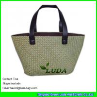 China fashion beach bag with patternss natural seagrass straw tote bags on sale