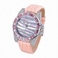 China Jewelry Stone Watch with CZ Stone Alloy Case, Leather Strap, OEM Designs, Stainless Steel Cover wholesale