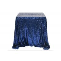 China Restaurant Gold Glitter Tablecloth Fashion Design Square Nacy Blue 100% Polyester wholesale