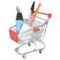China Retail Shop Equipment heavy duty shopping cart with red plastic advertisement board wholesale