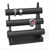 Three Floors Bracelet Holder Stand , Black Velvet Bracelet Display 34x185x270mm