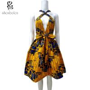 China Sleeveless V Neck African Print Summer Dresses Knee Length Ankara Fabric on sale