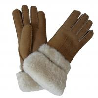 China Wholesale high quality sheepskin lambskin gloves fur trim cuff shearling gloves for ladies wholesale