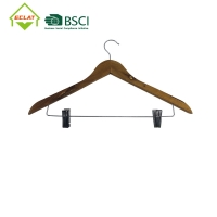 China 360 Degree Solid Wood Hangers , Swivel Hook Wooden Pants Hangers With Clips wholesale