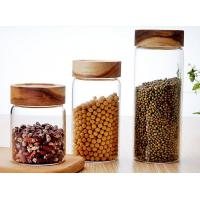 China Clear Custom Glass Food Storage Jars For Beans With Wood Lid , Longlife wholesale
