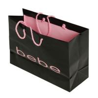China Luxury Black Custom Made Shopping Bags With Logo For Cosmetics Packaging on sale