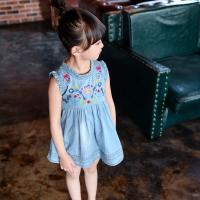 China 2016 Fashion Girl Kid's  Sleeveless Skirt Floral Blue Jeans Q218 wholesale