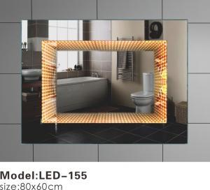 China Heated Touch LED Bathroom Mirror , Magnifying Rectangular Illuminated Mirror on sale