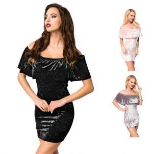 China Fashion Lady Off-Shoulder Velvet Dress wholesale