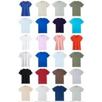China men & women's solid color summer Cotton Round collar slim design Tees stock size XS to XxxL 3 designs 18 colors wholesale