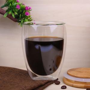 China Heat Resistant Borosilicate 350ml double wall Glass Coffee Mugs for sale wholesale