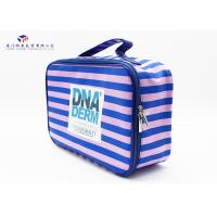 China Pink / Blue Stripe Soft PVC Bags Blue Zipper With Two Metal Heads Reusable Design wholesale