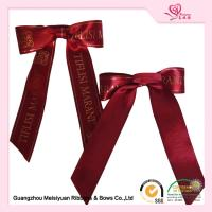 China Hot Stamping Logo Elastic Ribbon Bows burgundy satin ribbon For Gift Package on sale