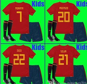 China Thailand KIDS Spain soccer jerseys 2018 world cup football Kits kids uniform with socks camisetas de futbol MORATA ASENS on sale