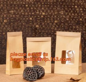 China Cheap logo printed resealable zip lock food snacks kfraft paper zipper bag with window,Resealable Zip lock and Heat Seal wholesale