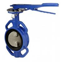 China Blue Cast Iron Manual Butterfly Valve with aluminum handle wholesale