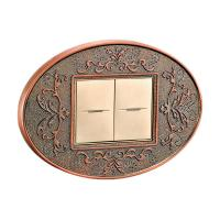 China Forged Brass Two Gang One / two Way Wall Switch With Classic Patterns And LED Indicator wholesale