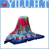 China 2014 plaid baby flower and leaf print polar fleece fabric baby blankets for children in polar fabric wholesale