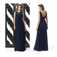 China Beautiful Dark Blue Chiffon Multicolor Naked Back Floor Length Girl Dresses on sale