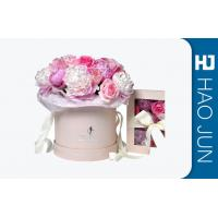China Romantic Round Cardboard Boxes For Flower Arrangements With Ribbon wholesale