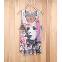 China girl brand excess apparel fashion stock lots exporter lace see-through sleeveless vest tee wholesale