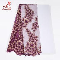 China Guipure Lace Fabric African beaded Flower Lace Embroidery Fabric For Clothing wholesale