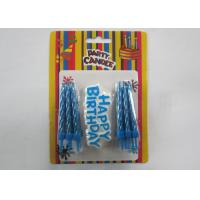 China Eco - Friendly Blue Shine Gold Birthday Candles / Birthday Wax Craft Candles wholesale