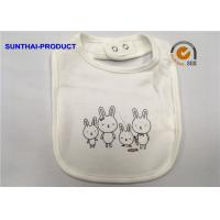 China Rabbit Screen Print White Cotton Baby Bibs Single Layer Ring Snap For Closure wholesale
