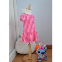 China Bow Neck  Girls Pink And White Striped Dress , Young Girls Party Dresses Elastic Waist wholesale