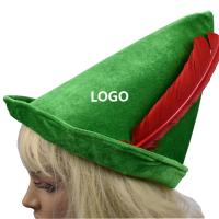 China Oktoberfest Green Peter Pan Hat Red Feather Party Hat 58-60cm wholesale