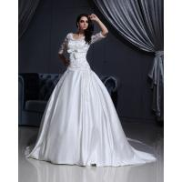 China Luxurious Lace Long Sleeved V Neck chiffon Wedding gowns with long trains wholesale