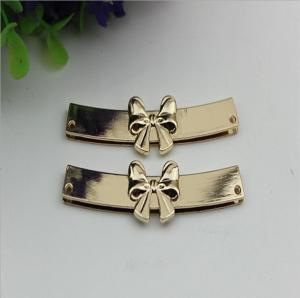 China OEM zinc alloy light gold bow-knot shape purse decorative metal corner 65 mm wholesale