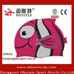 China funny hot sale waterproof kids silicone cartoon swim caps wholesale