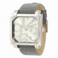 China Fashionable wristwatch with snake veins leather strap and square metal case, 2013 new style/arrival wholesale